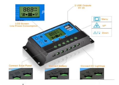 20A 12/24V PWM Charge Controller with USB & LCD